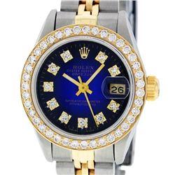 Rolex Ladies Two Tone 14K Blue Vignette VS Diamond Datejust Wristwatch
