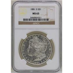 1881-S $1 Morgan Silver Dollar Coin NGC MS63