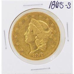 1865-S Type 1 Civil War Era $20 Liberty Head Double Eagle Gold Coin