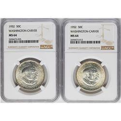 Lot of (2) 1952 Washington-Carver Commemorative Half Dollar Coins NGC MS64