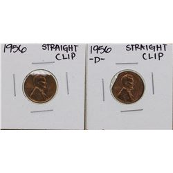 Lot of 1956 & 1956-D Straight Clipped Planchet Lincoln Wheat Penny ERROR Coins