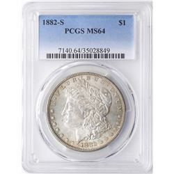 1882-S $1 Morgan Silver Dollar Coin PCGS MS64 Nice Toning