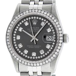 Rolex Men's Stainless Steel Rhodium String Diamond 36MM Datejust Wristwatch