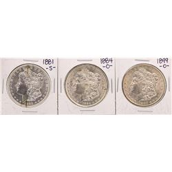 Lot of 1881-S, 1884-O, & 1899-O $1 Morgan Silver Dollar Coins