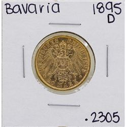 1895-D Germany-Bavaria 20 Marks Gold Coin