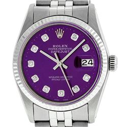 Rolex Men's Stainless Steel Purple Diamond 36MM Datejust Wristwatch