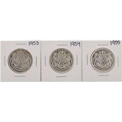 Lot of 1953-1955 $1 Canada Half Dollar Silver Coins