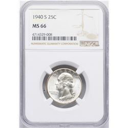 1940-S Washington Quarter Coin NGC MS66