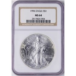 1996 $1 American Silver Eagle Coin NGC MS64