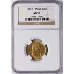 1865A France 20 Francs Gold Coin NGC AU55