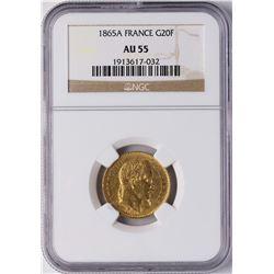 1865A France 20 Francs Gold Coin NGC AU55