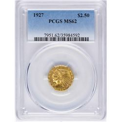 1927 $2 1/2 Indian Head Quarter Eagle Gold Coin PCGS MS62