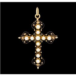 14KT Rose Gold Pearl Cross Pendant