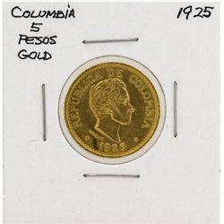 1925 Columbia 5 Pesos Gold Coin
