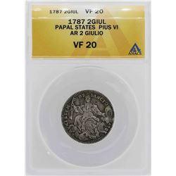 1787 Papal States Pius VI 2 Giulio Coin ANACS VF20