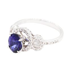 1.71 ctw Sapphire and Diamond Ring - 18KT White Gold