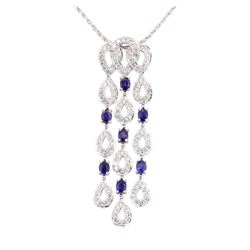 3.85 ctw Sapphire And Diamond Pendant And Chain - 14-18KT White Gold
