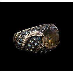 2.00 ctw Smoky Quartz, Topaz and Diamond Ring - 14KT Yellow Gold