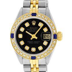 Rolex Ladies 2 Tone Black Diamond & Sapphire Datejust Wristwatch