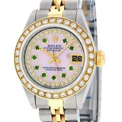 Rolex Ladies 2 Tone 14K Pink MOP Emerald String Diamond Datejust Wristwatch
