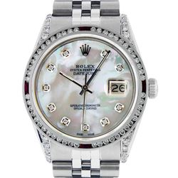 Rolex Mens SS MOP Diamond Lugs & Ruby Channel Set Diamond Datejust Wristwatch
