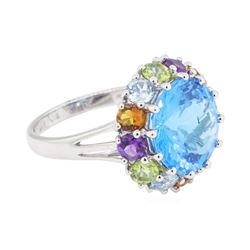 8.16 ctw Multi-Color Semi-Precious Gemstone Ring - 14KT White Gold