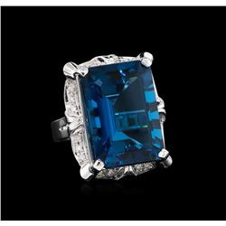34.56 ctw Blue Topaz and Diamond Ring - 14KT White Gold