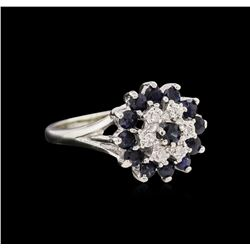 1.04 ctw Blue Sapphire and Diamond Ring - 10KT White Gold