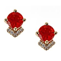 0.76 ctw Fire Opal and Diamond Earrings - 14KT Yellow Gold