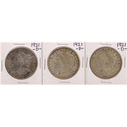 Lot of (3) 1921-D $1 Morgan Silver Dollar Coins