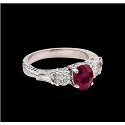 1.40 ctw Ruby and Diamond Ring - Platinum