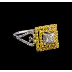 0.85 ctw Diamond and Yellow Sapphire Ring - 14KT Yellow Gold