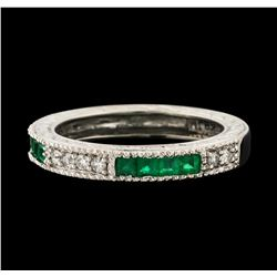 0.60 ctw Emerald and Diamond Ring - 14KT White Gold