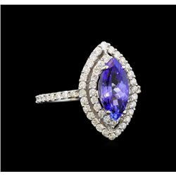 14KT White Gold 1.64 ctw Tanzanite and Diamond Ring