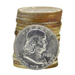 Roll of (20) 1958 Brilliant Uncirculated Franklin Half Dollars
