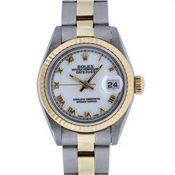 Rolex Ladies 2 Tone 14K Yellow Gold & Stainless Steel White Roman 26MM Datejust