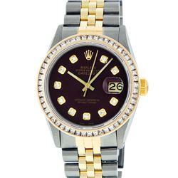 Rolex Mens 2 Tone 14K Maroon Princess Cut Diamond Datejust Wristwatch With Rolex