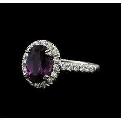 2.66 ctw Purple Sapphire and Diamond Ring - 14KT White Gold