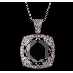14KT White Gold 18.84 ctw Black Diamond Pendant With Chain