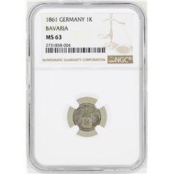 1861 Germany Kreuzer Bavaria Coin NGC MS63