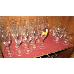 Qty 16 Champagne Glasses