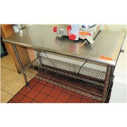 "Stainless Steel Metal Prep Table w/Wire Undershelf 49.5"" x 24"""