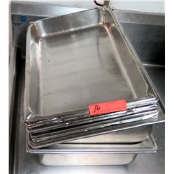 "Approx. 11 Stainless Steel or Alumininum Pans (most are 20.5"" x 13"")"
