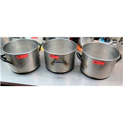 "Qty 3 Large  Cooking Pots (13"" dia, 9"" H)"