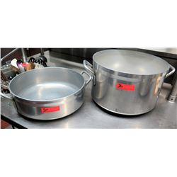 "Qty 2 Large  Cooking Pots (tall one is 16.5"" dia.x 10.5"" H, small is 16.5""dia x 5.5"" H)"