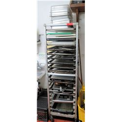 "Large Rolling Sheet Rack with Baking Sheets 20.5"" W x 26"" D x 68.5"" H"