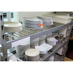 Contents of Shelves: Large Lot of Misc. Plates, Bowls (variou sizes/shapes)