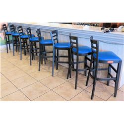 Qty 8 Bar Height Chairs w/ Blue Seats