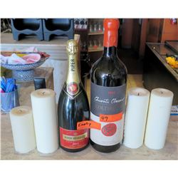"Decorative Empty Oversized Bottles of Champagne & Chianti (18"" Tall), 4 Candles"