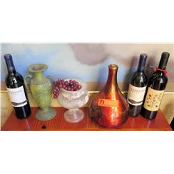 Qty 3 Decorative Vases and Prop Bottles of Wine (no alcohol content)